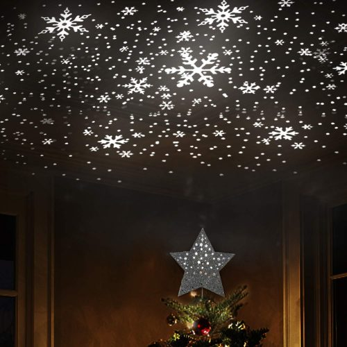 christmas tree projector projecting snowflakes